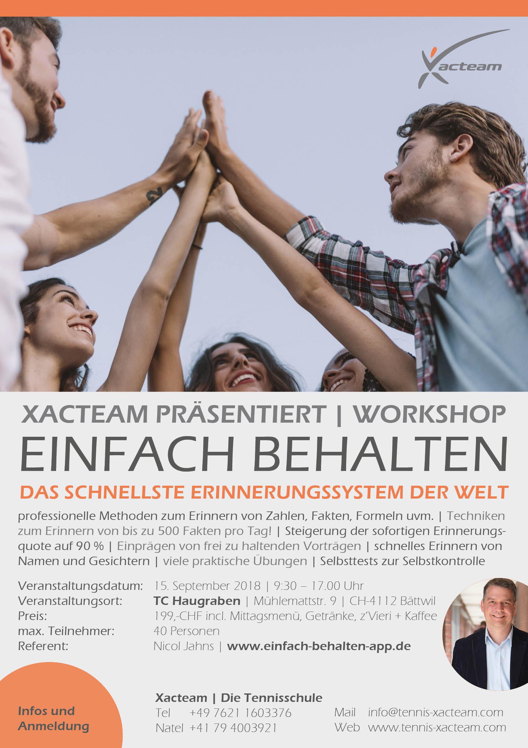 """Workshop """"Einfach behalten"""" am 15. September 2018"""